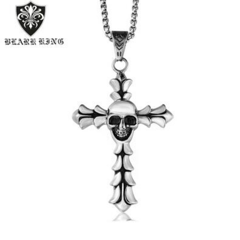 European and American accessories wholesale European and American retro Gothic men's Stainless Steel Skull Pendant Fashion Cross Skull Pendant