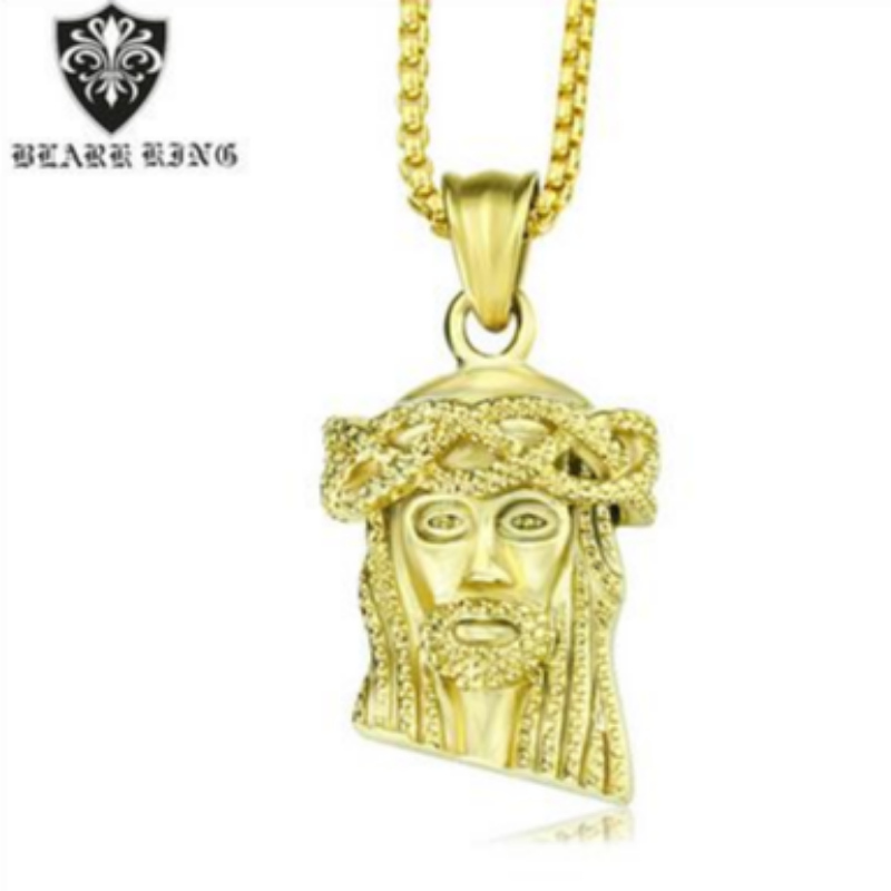 Retro jewelry European and American retro personality Jesus portrait stainless steel 18K Gold Men's Pendant retro Jesus portrait Pendant