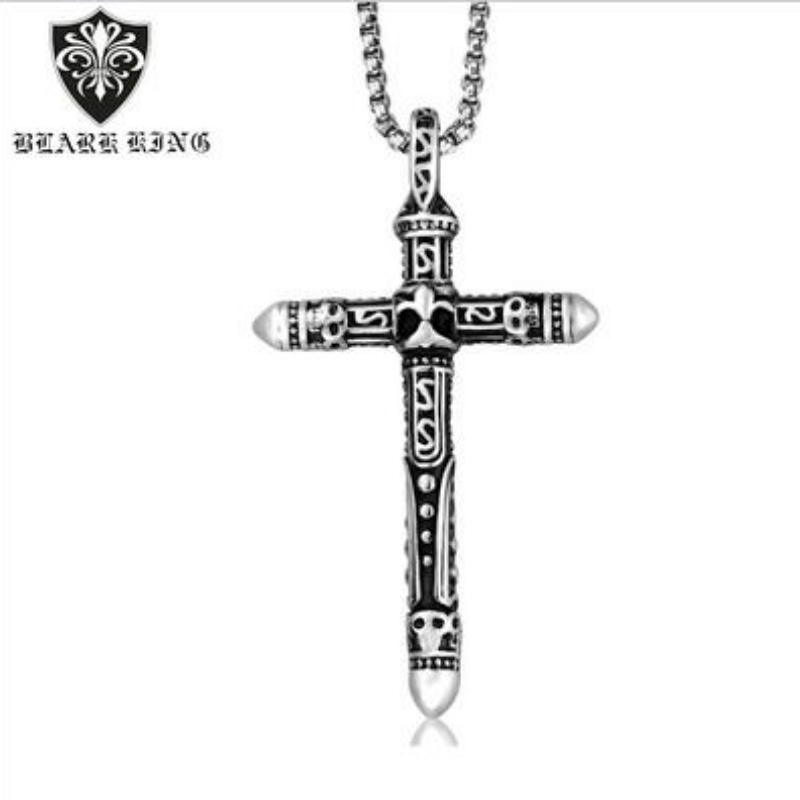 European and American retro bullet head stainless steel cross men's Pendant personalized Cast Stainless Steel Cross Pendant