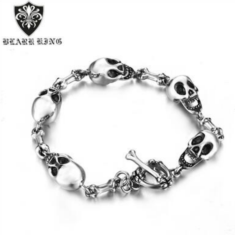 Stainless steel skull men's bracelet European and American Creative domineering personality Stainless Steel Skull Bracelet Jewelry